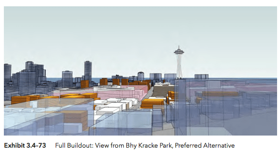 View from Bye Kracke Park under the Preferred Alternative scenario. (Hewitt Architecture / City of Seattle)
