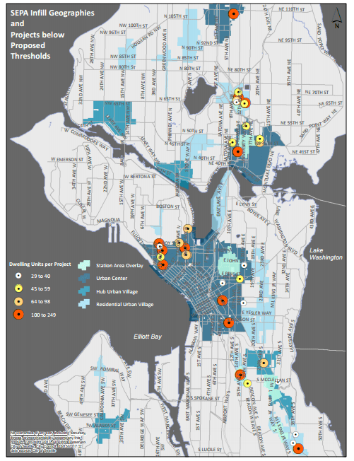 Where the 32 projects were located and the number of dwelling units associated with them. (City of Seattle)