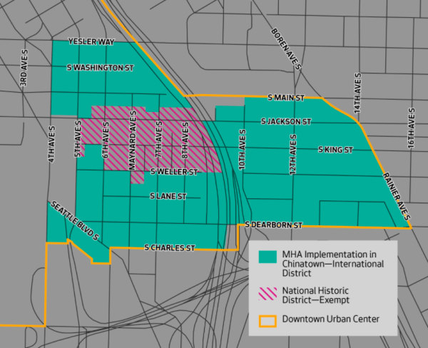 Areas of Chinatown-International District that are inside and outside of the MHA rezones. (City of Seattle)