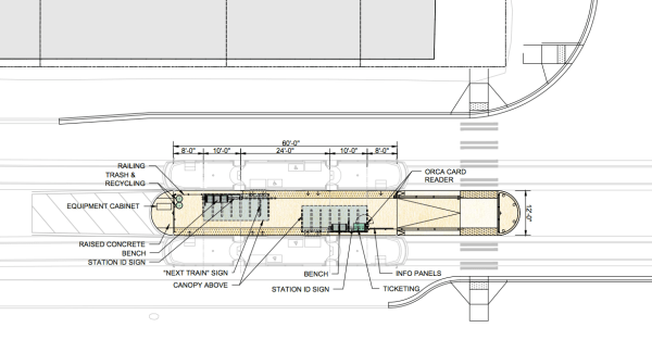 Site plan of a typical 60-foot station. (Sound Transit)