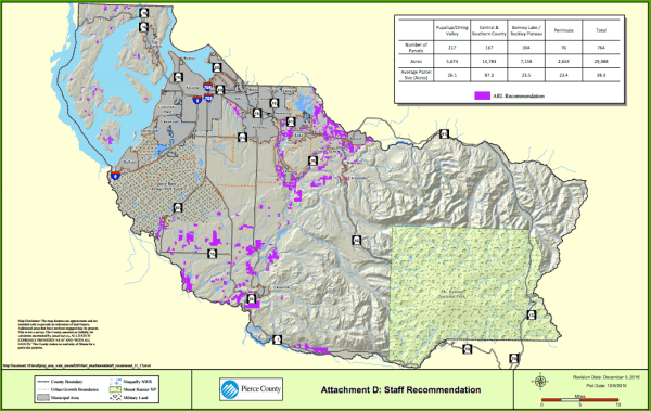 Pierce County staff's proposal to expand agricultural lands in Pierce County. (Pierce County)