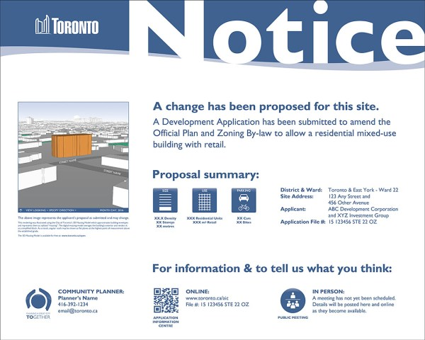 The City of Toronto's general large land use notice sign. (City of Toronto)