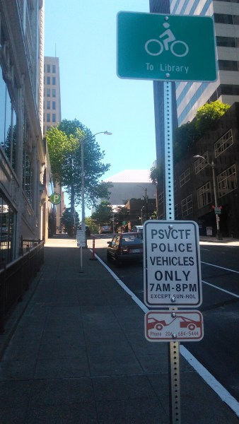 Special on-street parking restriction for police vehicles.