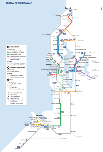 Sound Transit's new system expansion map detailing extensions and new lines, and year of project delivery. (Sound Transit)