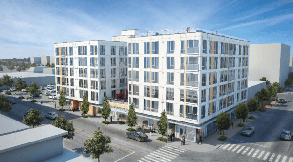 Rendering of 4700 Brooklyn Ave NE. (City of Seattle / Caron Architecture)
