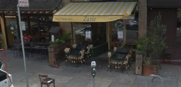 An example of a fence-free café in San Francisco with diverters. (Google Maps)