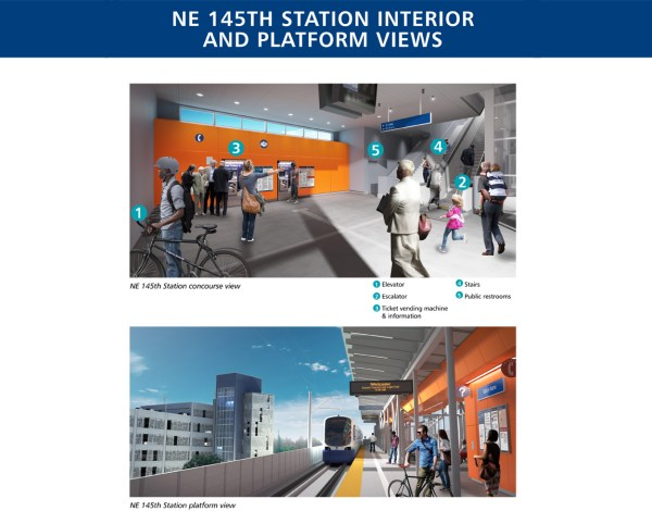 Renderings of the station interior and platform at 145th Street Station. (Sound Transit)
