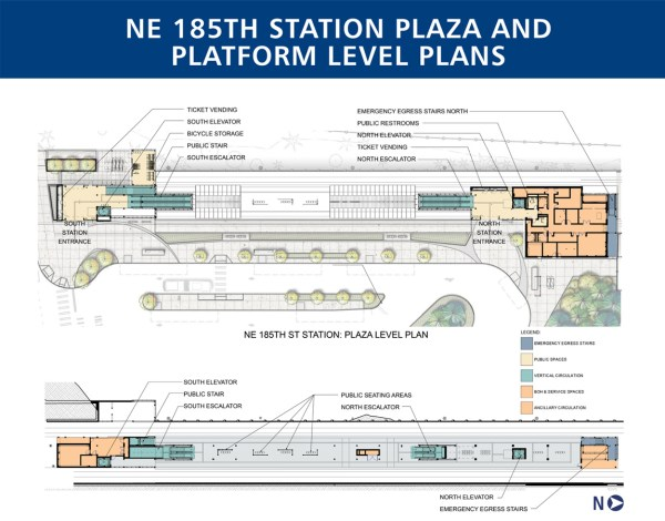 Detailed plan of the plaza and platform levels of 185th Street Station. (Sound Transit)