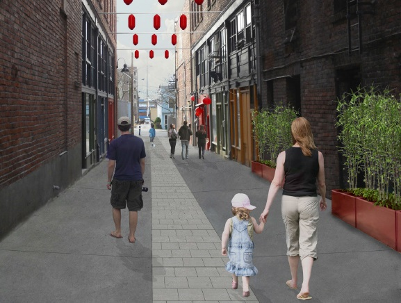 Rendering of how Canton Alley could function and feel like in the future. (City of Seattle)