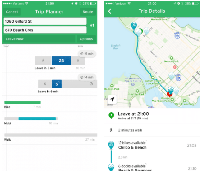 Left: The Trip Planner showing trip options, including biking and Mobi bikeshare. Right: The Mobi bike trip along English Bay. (Transit)
