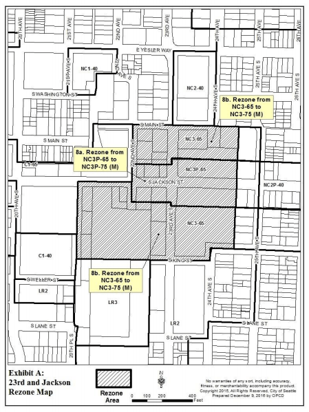 Proposed rezones within the 23rd and Jackson node. (City of Seattle)
