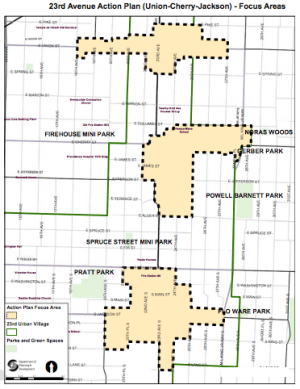 The three nodes that are part of the 23rd Avenue Action Plan. (City of Seattle)