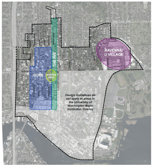 The Univeristy District community and where neighborhood design guidelines generally apply. (City of Seattle)