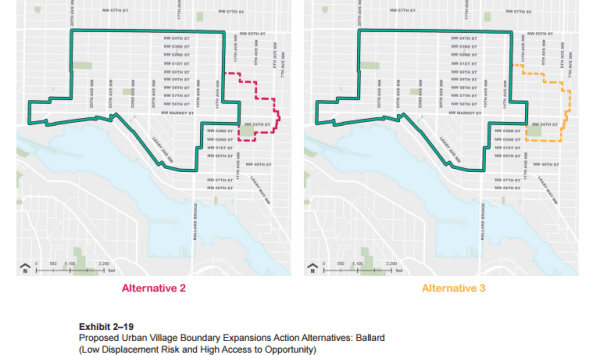 A comparison of Alternatives 2 and 3 in the Ballard Urban Village; both include expansions. (City of Seattle)