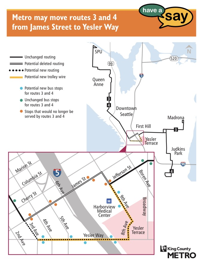 Metro's proposed realignment of Routes 3 and 4. (King County Metro)