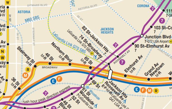 An excerpt from the New York City Subway map with street names called out. (MTA)