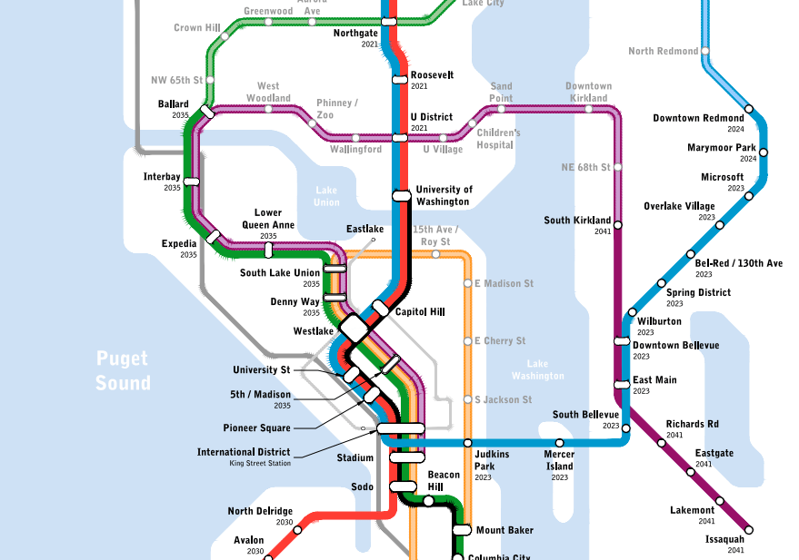 Map Of The Week Seattle Subway Vision Map The Urbanist