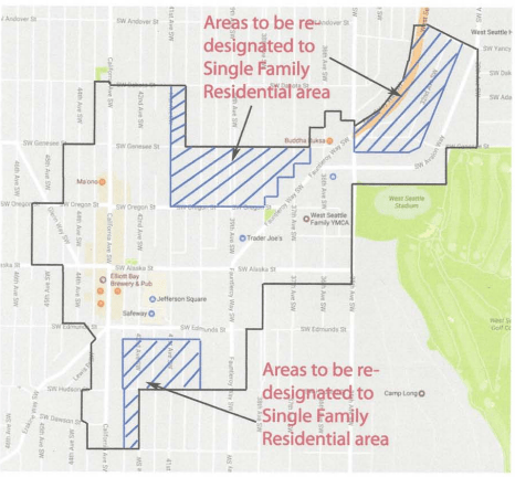 Areas proposed for redesignation to Single Family Residential in Alaska Junction. (City of Seattle)