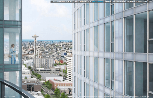 The proposed separation between the proposed 5th and Virginia building and Escala building. (Perkins + Will / City of Seattle)