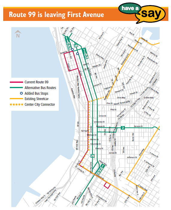 Route 99 would temporarily move to Second and Third Avenues. (King County)