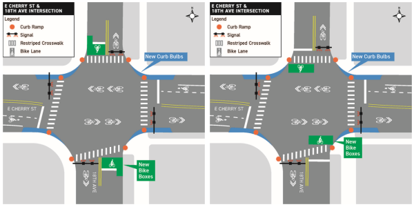 E Cherry St and 18th Ave E intersection alternatives. (City of Seattle)
