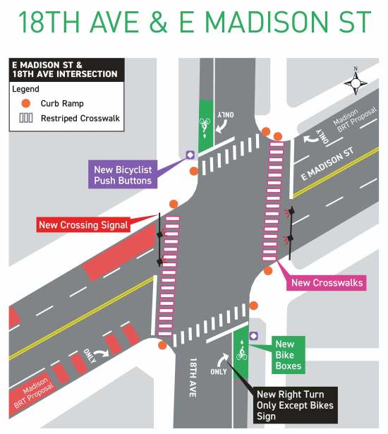The proposed redesign of the E Madison St and 18th Ave intersection. (City of Seattle)