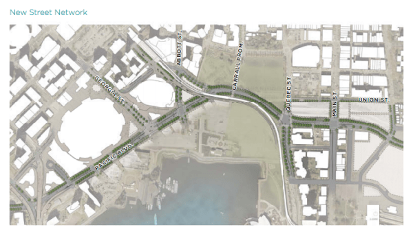 Conceptual street network in the viaducts removal area. (City of Vancouver)