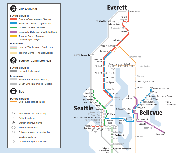 Seattle Link Rail Map Map of the Week: Sound Transit's New System Expansion Map | The