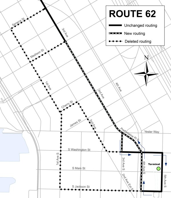 Revised Route 62 alignment in Downtown Seattle. (King County)