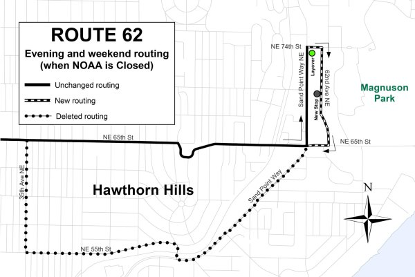 Revised Route 62 alignment near Magnuson Park. (King County)