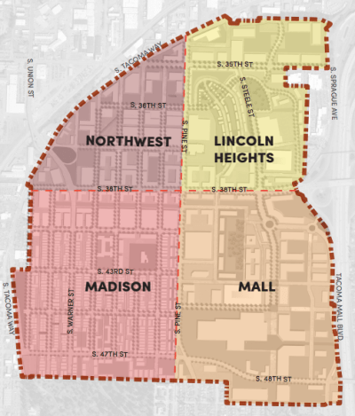 The four districts that make up the Tacoma Mall Regional Growth Center. (City of Tacoma)