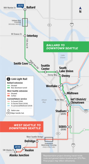 Conceptual corridors, station locations, and guideway elevation. (Sound Transit)