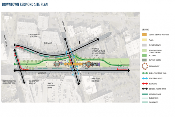 Proposed Downtown Redmond station site plan. (Sound Transit)