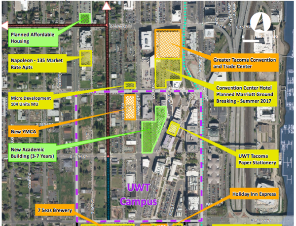 The dashed red and blue lines indicated the proposed bike and pedestrian improvements. (City of Tacoma)