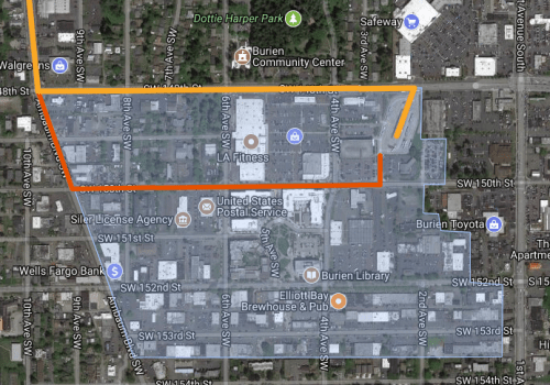 Gold represents the current Route 120 alignment; orange represents a possible alternative alignment for the H Line; and blue represents the Burien town center.