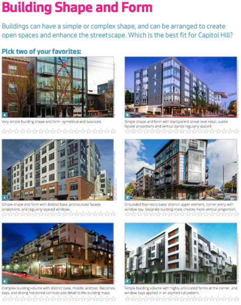 Example of survey topic provided to respondents. (City of Seattle)