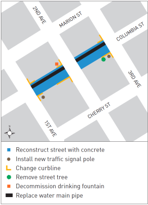 Planned improvements to Columbia Street. (City of Seattle)