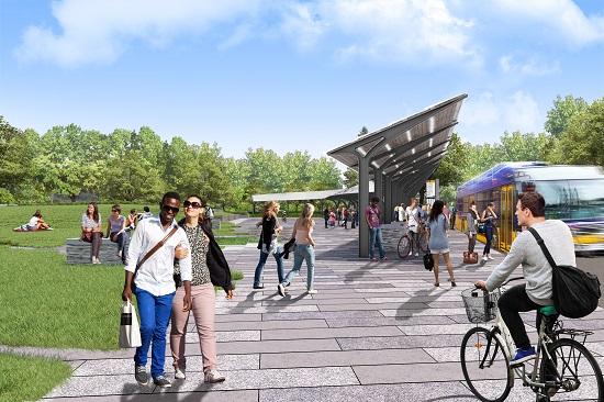 Future transit facilities and lid at the Montlake Interchange. (WSDOT)