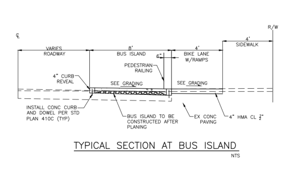 SDOT's 60% design at bus islands along NE 65th St. (City of Seattle)
