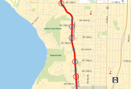 Proposed stop changes between White Center and Burien. Blue dots are current stops; red circles are proposed stop pairs. (King County)