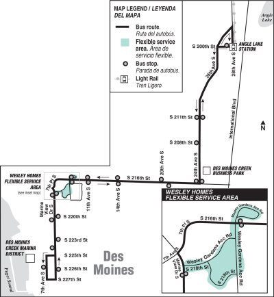 New Route 635 stops and path. (King County)