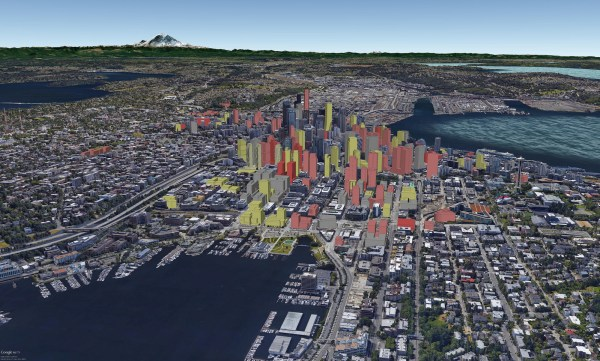 Rendering of South Lake Union with buildings currently under construction (yellow profiles), planned (salmon profiles), rumored (red profiles), and completed (grey profiles). (David Boynton)