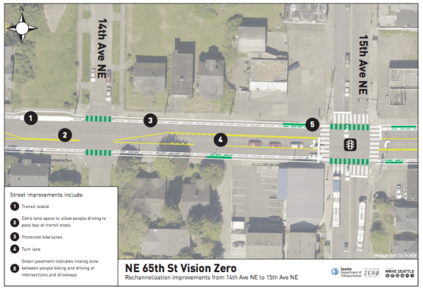 December rechannelization plan for NE 65th St near Roosevelt High School. (City of Seattle)