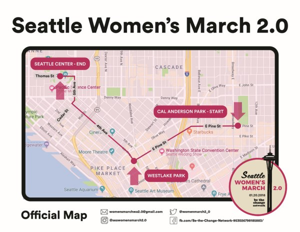 Official map of the 2018 Seattle Women's March.