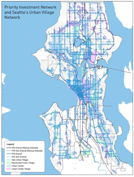 Seattle's Priority Investment Network for sidewalks. (City of Seattle)