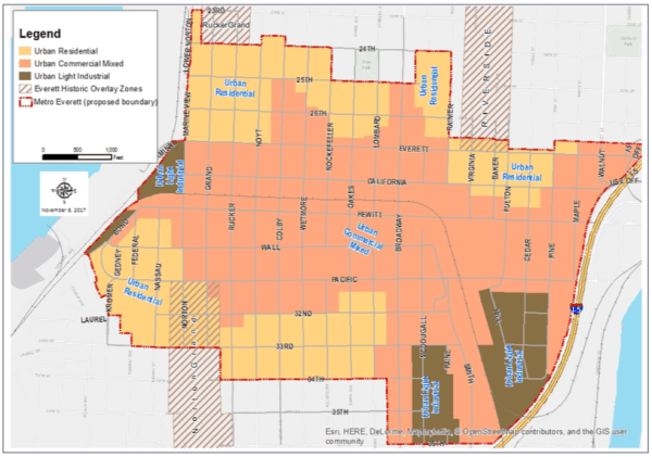 Draft zoning within an expanded Metro Everett. (City of Everett)