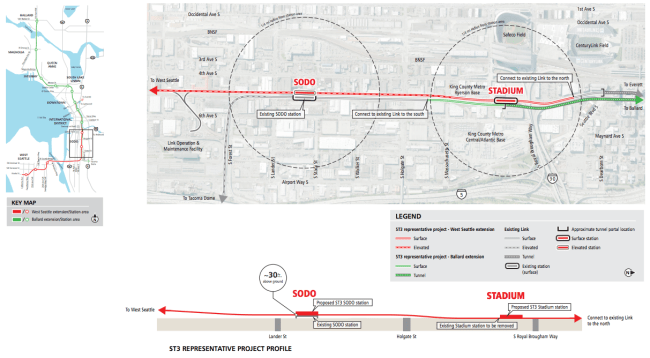 Roll map of the conceptual alignment from Chinatown through SoDo. Click for larger version. (Sound Transit)