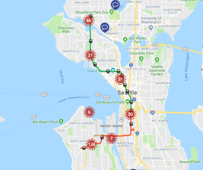 Thought bubbles on the interactive map. (Sound Transit)