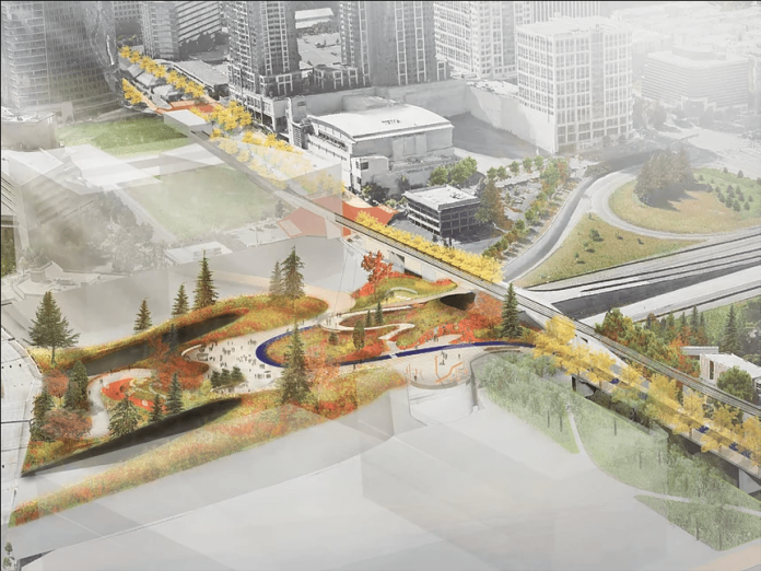 A rendering some a row of trees and lawn on a lid over 405.