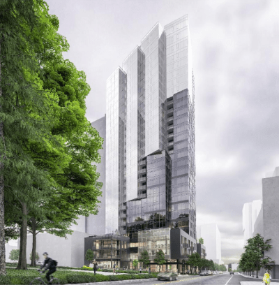 The phototropism concept breaks up the tower facade. (Ankrom Moisan)